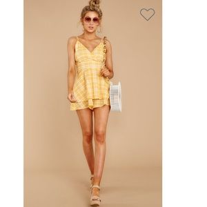 Step Aside Sunshine Yellow Plaid Romper